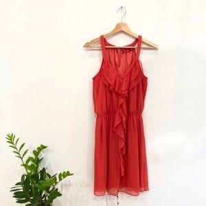 Coral ruffle mini dress